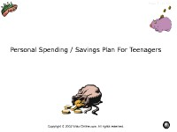 Personal Spending/Savings Plan for Teenagers