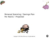 Personal Savings/Spending Plan for Adults - Projected