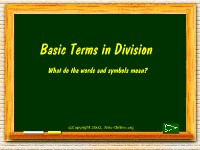 Basic Terms in Division