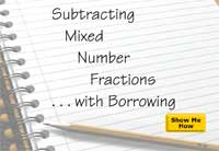 Subtracting Mixed Number Fractions with Borrowing
