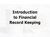 Introduction to Financial Record Keeping