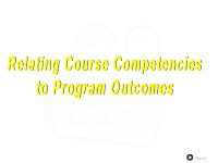 Relating Course Competencies to Program Outcomes