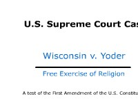 Free Exercise of Religion - U.S. Supreme Court Case: Wisconsin v. Yoder