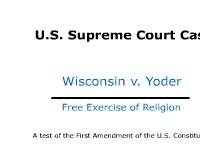 Free Exercise of Religion - U.S. Supreme Court Case: Wisconsin v. Yoder
