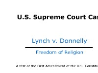 Freedom of Religion - Supreme Court Case: Lynch v. Donnelly