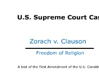 Freedom of Religion - Supreme Court Case: Zorach v. Clauson