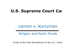 U.S. Supreme Court Case: Lemon v. Kurtzman