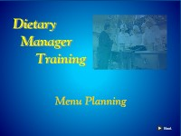 Dietary Manager Training: Menu Planning