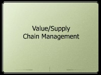 Value/Supply Chain Management