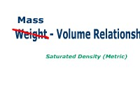 Weight- Volume  Relationships: Saturated Density (Metric)