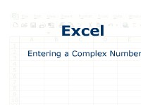 Excel: Entering a Complex Number