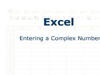 Excel: Entering a Complex Number