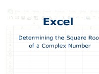 Excel: Determining the Square Root of a Complex Number