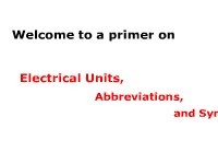Electrical Units, Abbreviations, and Symbols