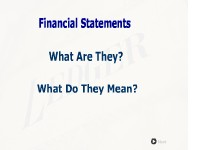 Financial Statements:  What Are They?  What Do They Mean?
