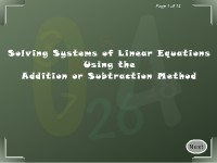 Solving Systems of Linear Equations Using the Addition or Subtraction Method