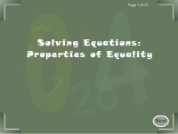 Solving Equations: Properties of Equality