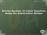 Solving Systems of Linear Equations Using the Substitution Method