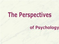 The Perspectives of Psychology
