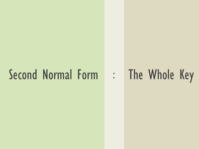 Normalization – 2nd Normal Form