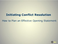 A Model for Initiating Conflict Resolution