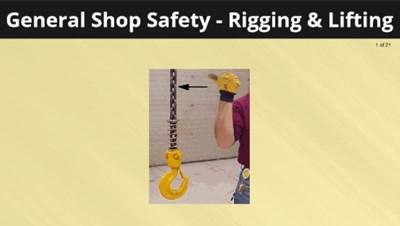 General Shop Safety - Rigging & Lifting