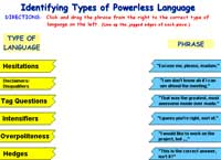 Identifying Types of Powerless Language