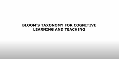 Bloom's Taxonomy For Cognitive Learning and Teaching (Screencast)
