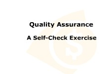 Quality Assurance: A Self-Check Exercise