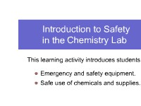 Introduction to Safety in the Chemistry Lab