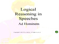 Logical Reasoning in Speeches - Ad Hominem