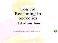 Logical Reasoning in Speeches - Ad Absurdum
