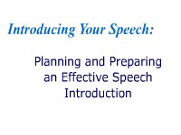 Introducing Your Speech