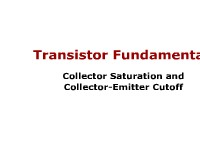 Transistor Fundamentals: Collector Saturation and Collector-Emitter Cutoff