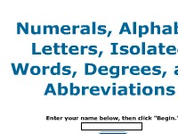 Numerals, Alphabet Letters, Isolated Words, Degrees, and Abbreviations