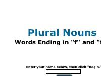 "Plural Nouns: Words Ending in ""f"" and ""fe"""